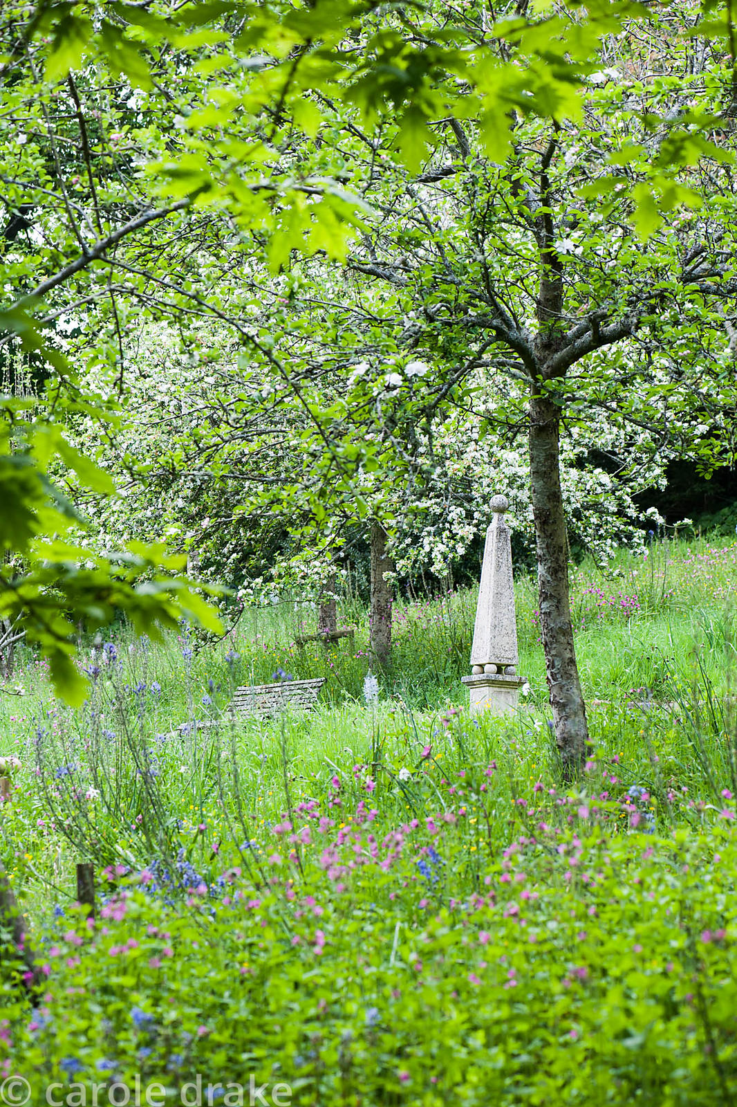 Obelisk on the path that runs through the flower filled slopes of the new orchard at The Old Rectory, Netherbury, Dorset in May