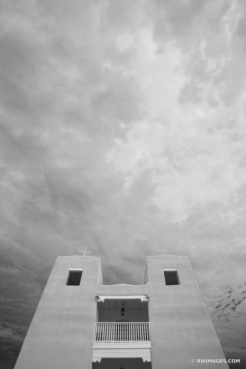 NAMBE PUEBLO SACRED HEART MISSION CHURCH HIGH ROAD TO TAOS BLACK AND WHITE VERTICAL