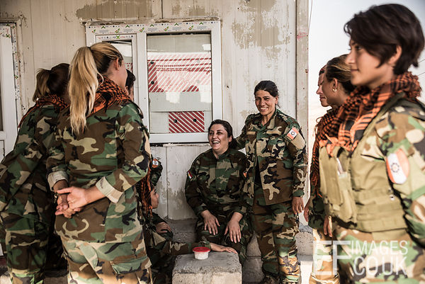 PAK (Kurdistan Freedom Party) female fighters With their Commander at their base north of Hawija, where Kurdish Iranian fight...