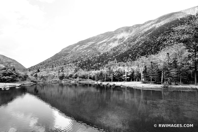 WILLEY POND CRAWFORD NOTCH STATE PARK WHITE MOUNTAINS NEW HAMPSHIRE BLACK AND WHITE