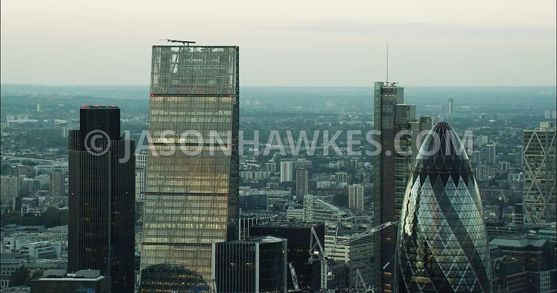 London Aerial Footage of 30 St Mary's Axe and the Leadenhall Building close up.