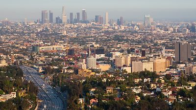 Bird's Eye: Highway Traffic, Hollywood, Capitol Records & Downtown L.A. Skyline