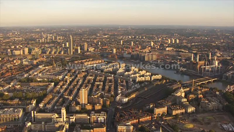 Aerial footage of Pimlico, London