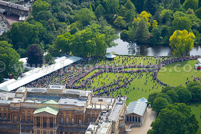 Aerial view of Buckingham Palace Garden Party