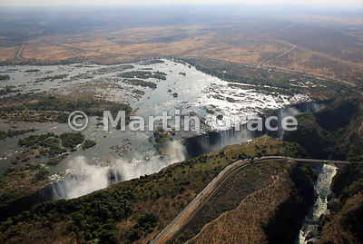 Victoria Falls (Mosi-oa-Tunya) from the air, Zimbabwe and Zambia