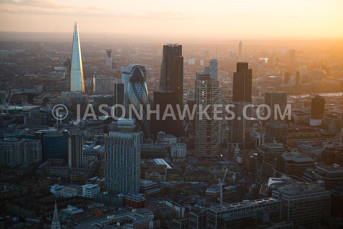 Aerial view of the City with The Shard in background, London