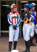 Abi Dean and Ali Dane in the Parade Ring - Champions Willberry Charity Flat Race - Cheltenham Racecourse, April 20th 2017