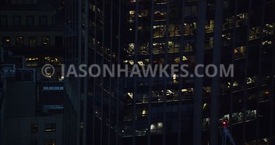 London Aerial Footage close up nighttime of 99 Bishopsgate