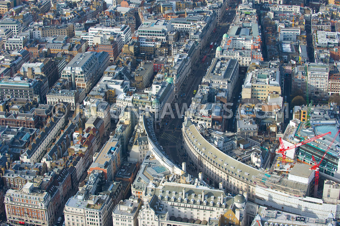 Aerial view over Regent Street, London