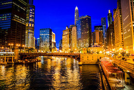 Chicago River at Night Building Architecture Photo