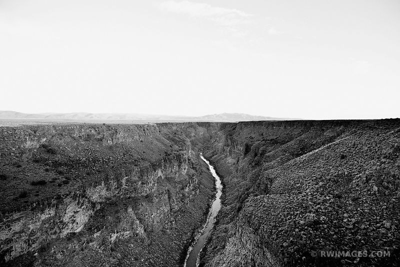 RIO GRANDE GORGE NEAR TAOS NEW MEXICO BLACK AND WHITE