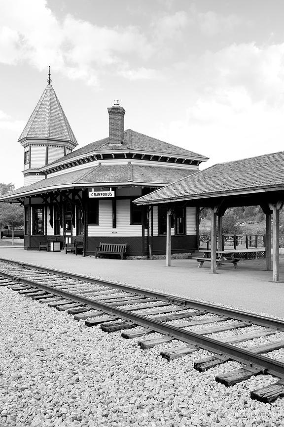 CRAWFORD DEPOT CRAWFORD'S TRAIN STATION CONWAY SCENIC RAILROAD NEW HAMPSHIRE BLACK AND WHITE VERTICAL