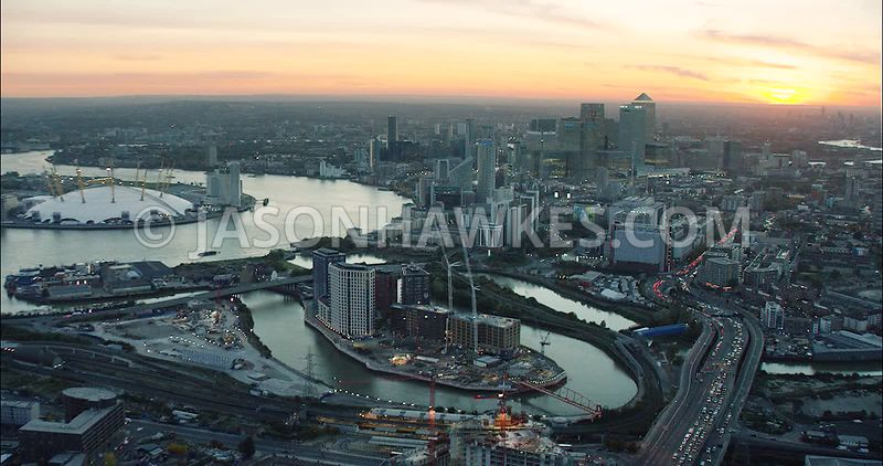 London Aerial Footage London City Island.