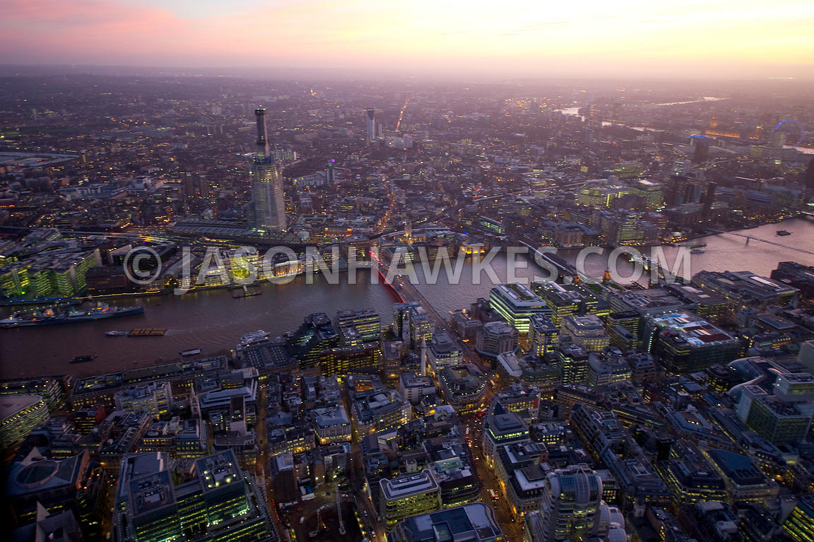 Aerial view over the River Thames at sunset, London
