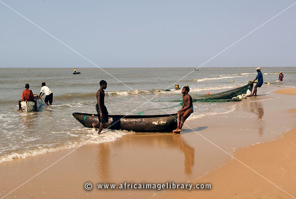Mozambique, Beira, fishing boats on the beach