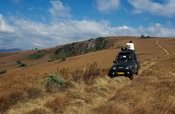 tourists enjoying the mountain scenery, Nyika National Park, Malawi