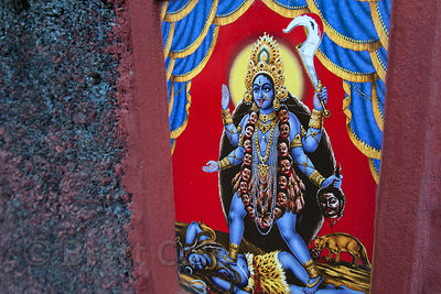 Painting of Kali on a wall in Bowbazar, Kolkata, India.