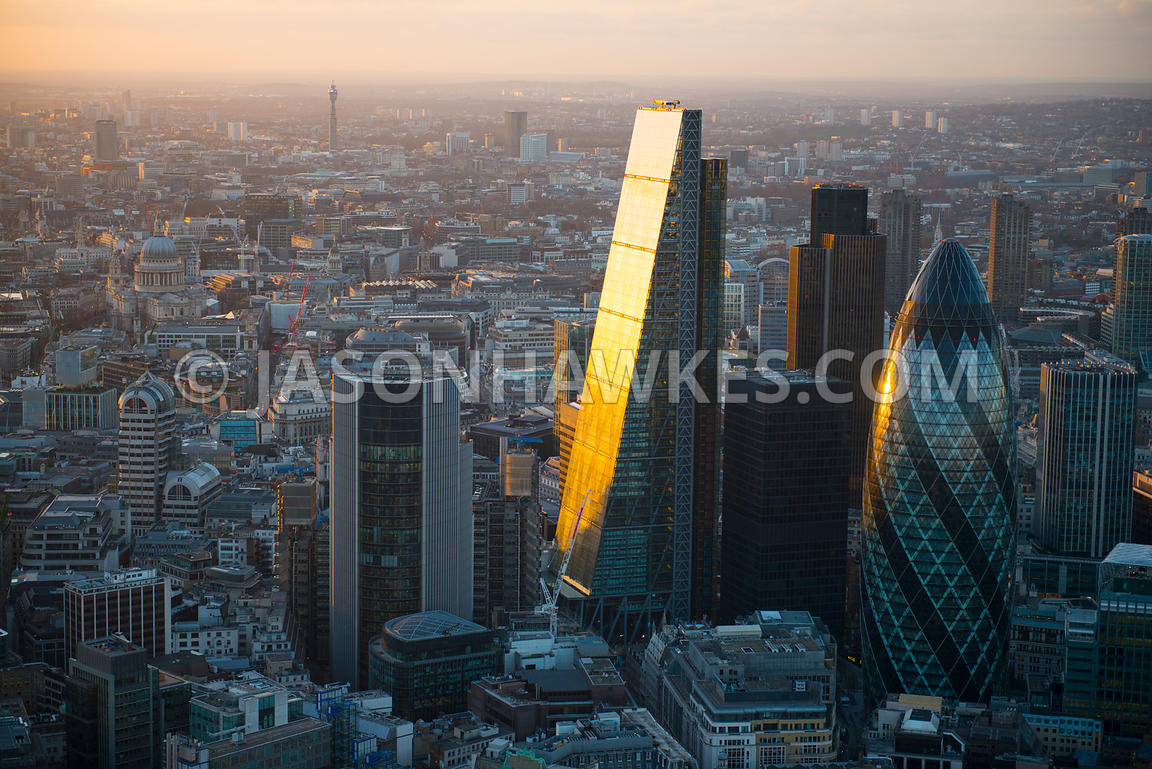 Aerial view of the Leadenhall Building at dusk, London