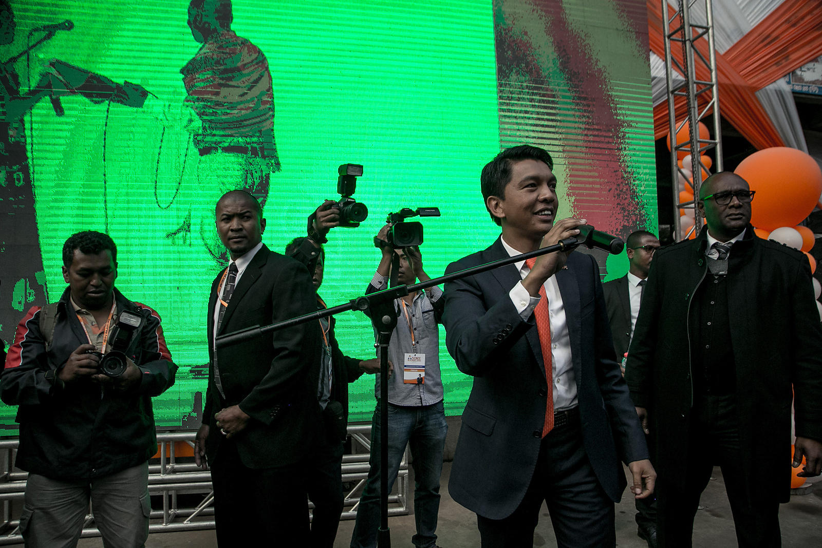 Andry Rajoelina, former President of the Transition, greets his supporters at the Mahamasina Sports Palace who came to attend...
