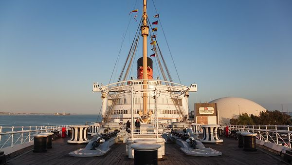 Wide Shot: The Deck Of The Queen Mary (Day To Night)