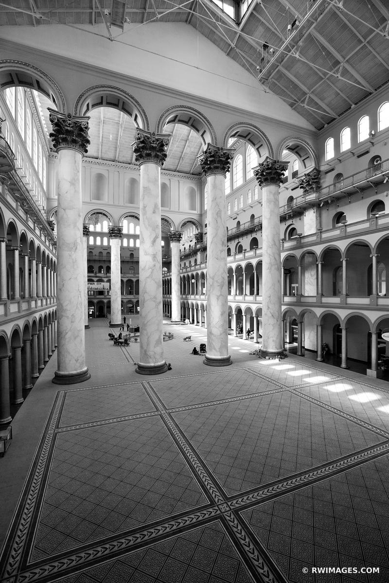 NATIONAL BUILDING MUSEUM WASHINGTON DC BLACK AND WHITE VERTICAL
