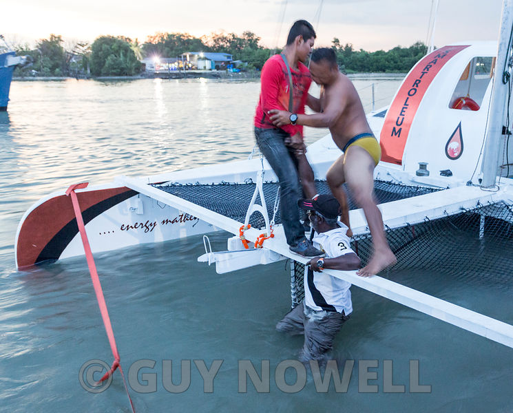 2017 Raja Muda Selangor International Regatta. Rama Menon goes for a dip, and is rescued from a very fast-flowing Klang River.