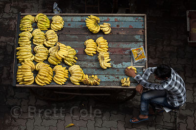 A banana seller near Jama Masjid (Mosque) in Bandra, Mumbai, India.