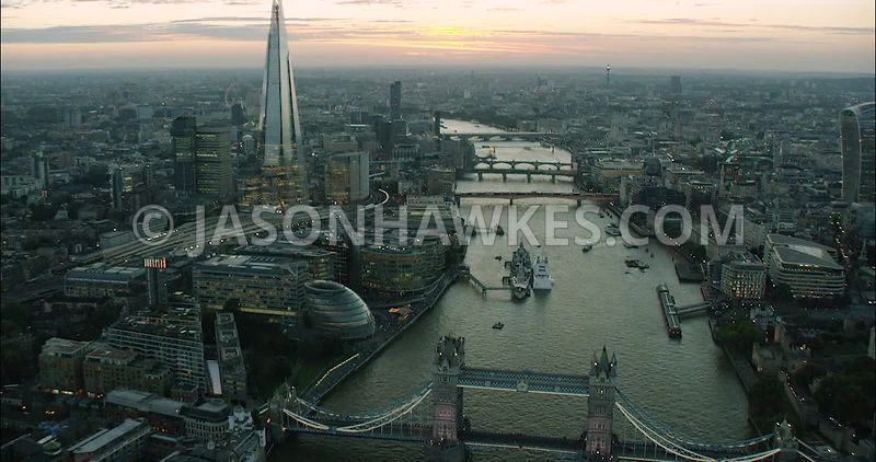 London Aerial Footage of Tower Bridge and River Thames.