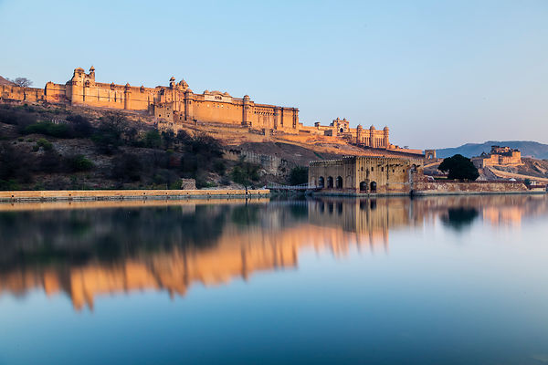 Amber Fort Reflected in Maota Lake at Sunrise