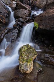Small waterfall in an apline brook near Kothi, on the way to Rohtang Pass, Manali, India