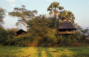 Mvuu Lodge on the bank of the Shire river, Liwonde National Park, Malawi