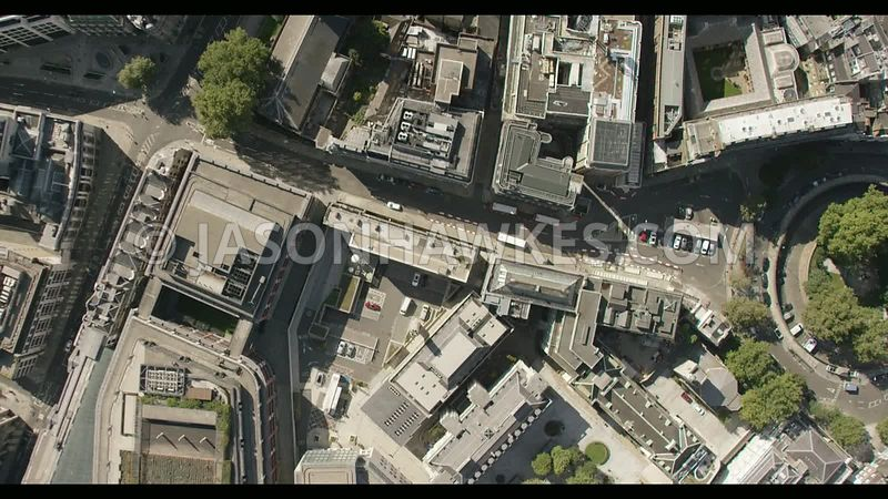 Direct, plan aerial footage of City of London.