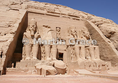 Facade of the Sun Temple at Abu Simbel, Egypt, with four colossi of Ramesses II