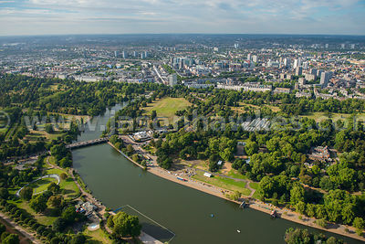 London. Aerial view of The Serpentine and Hyde Park