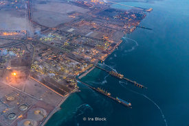 A birds-eye view of the gas refiniries near Doha airport, Qatar.