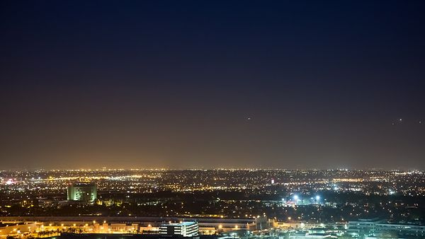 Wide Shot: Incoming Airplanes on a LAX Landing Path at Night