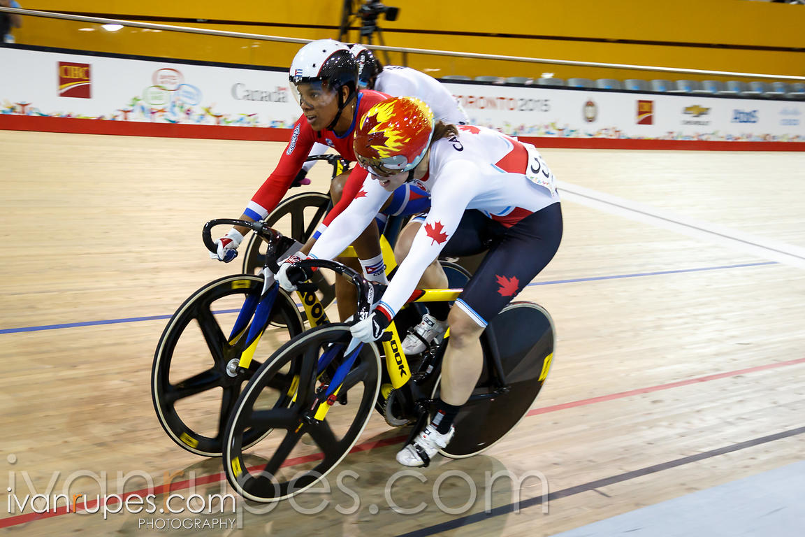 Women's Keirin Final. Track Day 2, Toronto 2015 Pan Am Games, Milton Pan Am/Parapan Am Velodrome, Milton, On; July 17, 2015