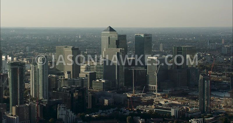 London Aerial Footage of Docklands with Canary Wharf.