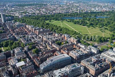 Aerial view of London Grosvenor Square Gardens and Hyde Park