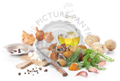 Raw wild mushrooms with oil and spices on white background