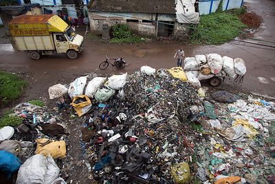 Plastic recycling operations in Topsia, Kolkata, India