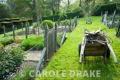 Formal vegetable garden. The Old Rectory, Netherbury, Dorset, UK