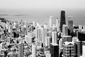 NORTH LOOP AERIAL CHICAGO BLACK AND WHITE