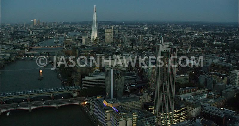 London Aerial Footage of Blackfriars toward The Shard.