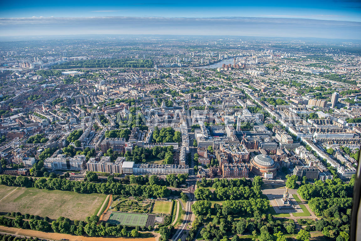 Aerial view of London, Exhibition Road, Science Museum and Natural History Museum with Hyde Park.