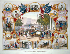 Print commemorating 15th Amendment
