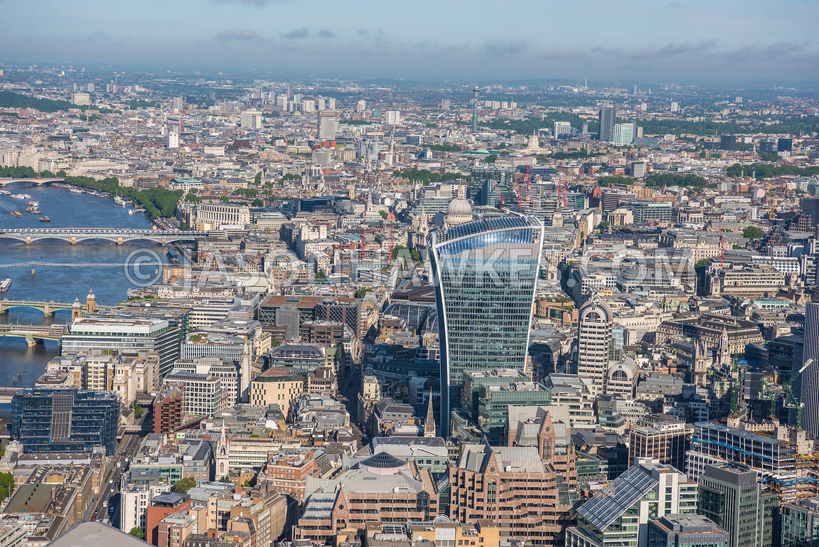 Aerial view of 20 Fenchurch Street and the River Thames