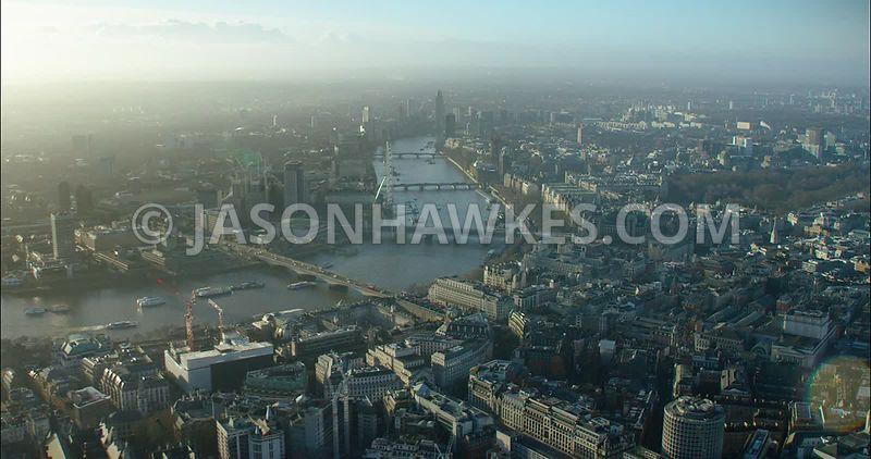 London Aerial footage, Strand with Waterloo Bridge.