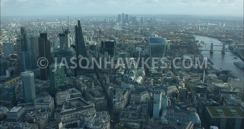 London Aerial footage, City of London skyline with 20 Fenchurch Street and River Thames.