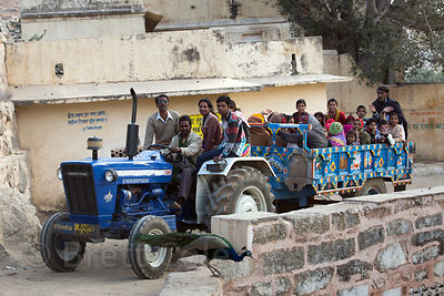 Tractors are a common form of transportation in the Rajasthani desert, Ajaypal, Rajasthan, India